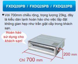 Mô tả - Máy lạnh trung tâm Daikin VRV IV Loại giấu trần nối ống gió dạng mỏng FXDQ-PB/NB